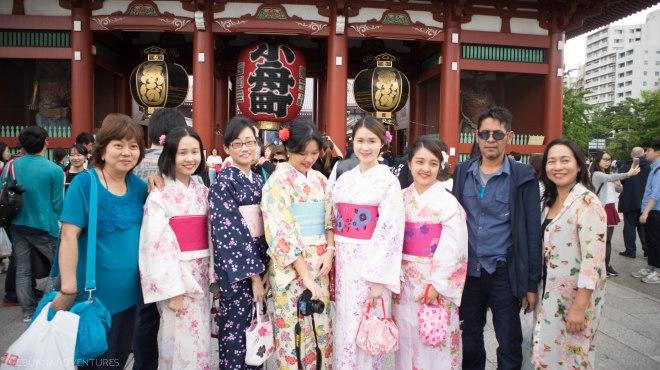 Girls in Kimono in Senso-ji Temple